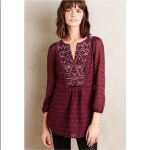 Anthropologie Maroon Boho Blouse with Sequins